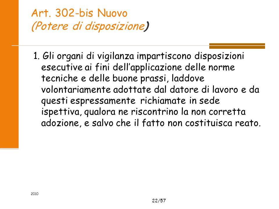 22/57 Art. 302-bis Nuovo (Potere di disposizione) 1. Gli organi di vigilanza impartiscono disposizioni esecutive ai fini dellapplicazione delle norme