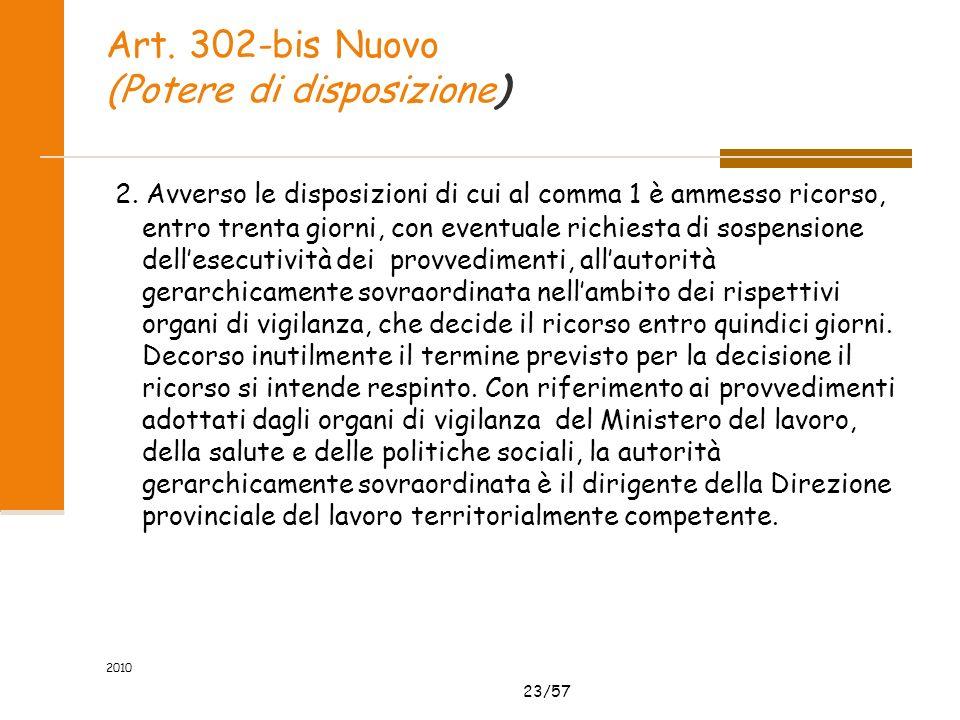 23/57 Art. 302-bis Nuovo (Potere di disposizione) 2. Avverso le disposizioni di cui al comma 1 è ammesso ricorso, entro trenta giorni, con eventuale r