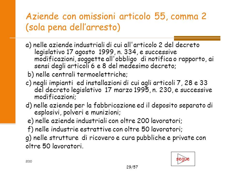 29/57 2010 Aziende con omissioni articolo 55, comma 2 (sola pena dellarresto) a) nelle aziende industriali di cui all articolo 2 del decreto legislativo 17 agosto 1999, n.