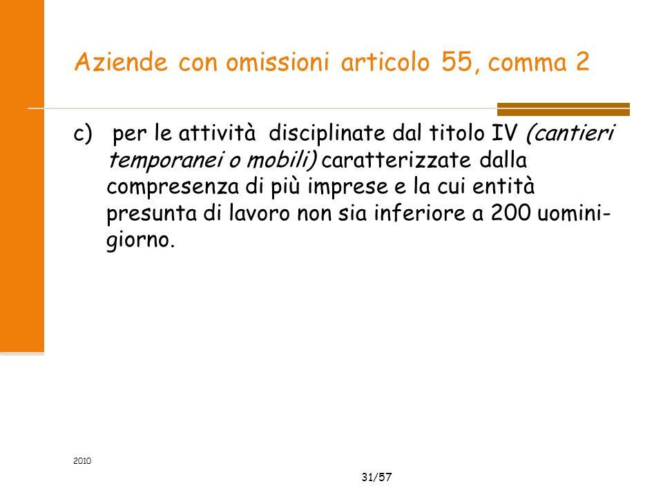 31/57 2010 Aziende con omissioni articolo 55, comma 2 c) per le attività disciplinate dal titolo IV (cantieri temporanei o mobili) caratterizzate dalla compresenza di più imprese e la cui entità presunta di lavoro non sia inferiore a 200 uomini- giorno.