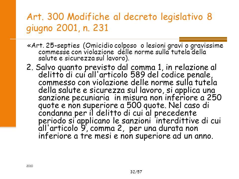 32/57 2010 Art. 300 Modifiche al decreto legislativo 8 giugno 2001, n. 231 «Art. 25-septies (Omicidio colposo o lesioni gravi o gravissime commesse co
