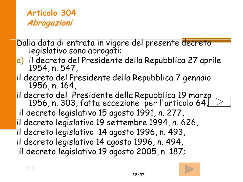 38/57 2010 Articolo 304 Abrogazioni Dalla data di entrata in vigore del presente decreto legislativo sono abrogati: a)il decreto del Presidente della Repubblica 27 aprile 1954, n.