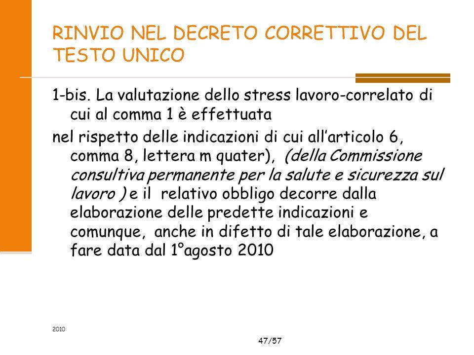 47/57 RINVIO NEL DECRETO CORRETTIVO DEL TESTO UNICO 1-bis. La valutazione dello stress lavoro-correlato di cui al comma 1 è effettuata nel rispetto de