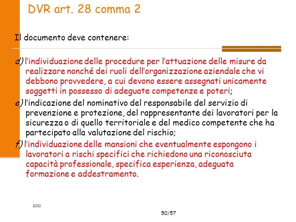 50/57 2010 DVR art. 28 comma 2 Il documento deve contenere: d) lindividuazione delle procedure per lattuazione delle misure da realizzare nonché dei r