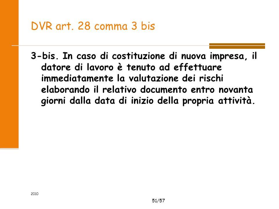 51/57 DVR art. 28 comma 3 bis 3-bis. In caso di costituzione di nuova impresa, il datore di lavoro è tenuto ad effettuare immediatamente la valutazion