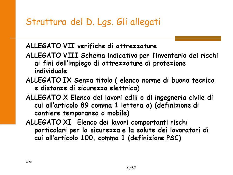 6/57 2010 Struttura del D. Lgs. Gli allegati ALLEGATO VII verifiche di attrezzature ALLEGATO VIII Schema indicativo per linventario dei rischi ai fini