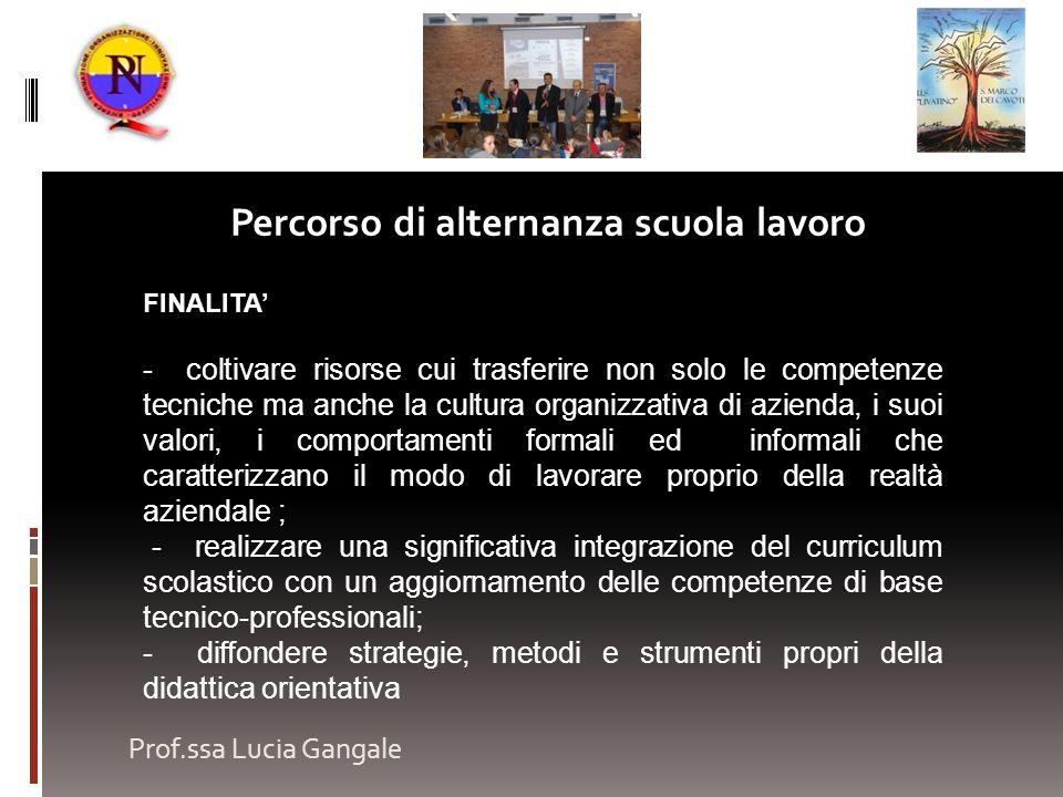 Prof.ssa Lucia Gangale Percorso di alternanza scuola lavoro FINALITA - coltivare risorse cui trasferire non solo le competenze tecniche ma anche la cu