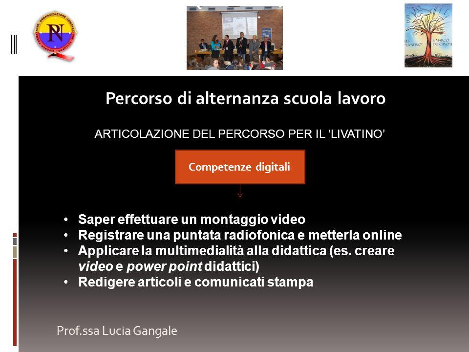 Prof.ssa Lucia Gangale Percorso di alternanza scuola lavoro ARTICOLAZIONE DEL PERCORSO PER IL LIVATINO Saper effettuare un montaggio video Registrare