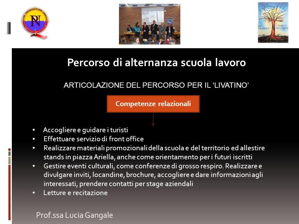 Prof.ssa Lucia Gangale Percorso di alternanza scuola lavoro ARTICOLAZIONE DEL PERCORSO PER IL LIVATINO Accogliere e guidare i turisti Effettuare servi