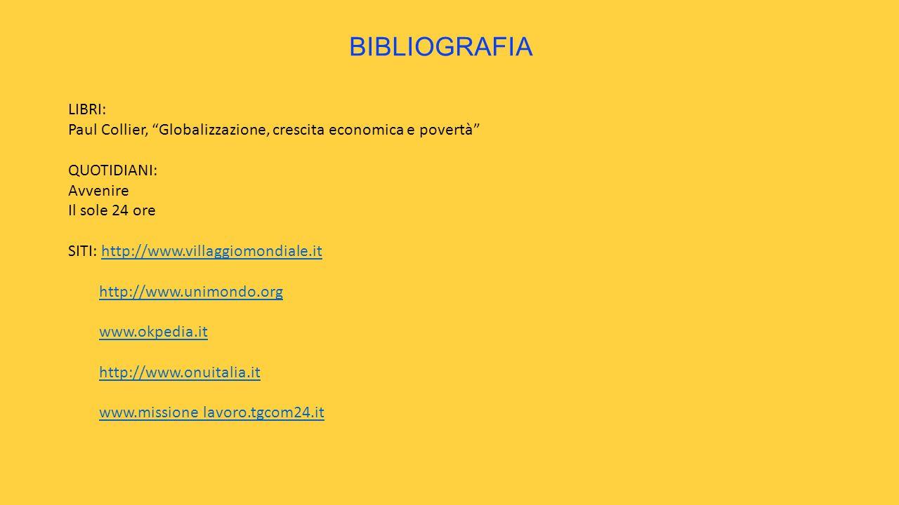 BIBLIOGRAFIA LIBRI: Paul Collier, Globalizzazione, crescita economica e povertà QUOTIDIANI: Avvenire Il sole 24 ore SITI: http://www.villaggiomondiale.ithttp://www.villaggiomondiale.it http://www.unimondo.org www.okpedia.it http://www.onuitalia.it www.missione lavoro.tgcom24.it