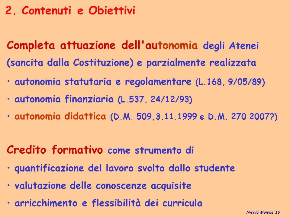 Credito formativo come strumento di quantificazione del lavoro svolto dallo studente valutazione delle conoscenze acquisite arricchimento e flessibilità dei curricula 2.