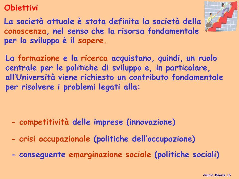 - conseguente emarginazione sociale (politiche sociali) Obiettivi Nicola Melone 16 La società attuale è stata definita la società della conoscenza, nel senso che la risorsa fondamentale per lo sviluppo è il sapere.