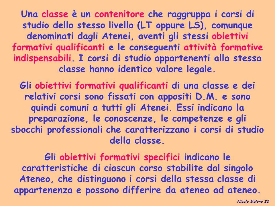 Una classe è un contenitore che raggruppa i corsi di studio dello stesso livello (LT oppure LS), comunque denominati dagli Atenei, aventi gli stessi obiettivi formativi qualificanti e le conseguenti attività formative indispensabili.
