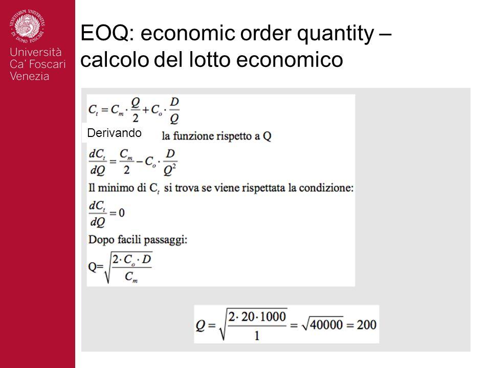 EOQ: economic order quantity – calcolo del lotto economico Derivando