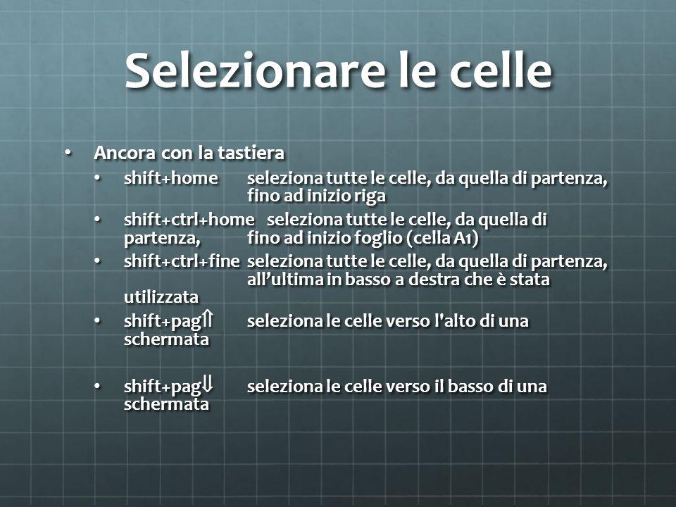 Selezionare le celle Ancora con la tastiera Ancora con la tastiera shift+homeseleziona tutte le celle, da quella di partenza, fino ad inizio riga shift+homeseleziona tutte le celle, da quella di partenza, fino ad inizio riga shift+ctrl+homeseleziona tutte le celle, da quella di partenza, fino ad inizio foglio (cella A1) shift+ctrl+homeseleziona tutte le celle, da quella di partenza, fino ad inizio foglio (cella A1) shift+ctrl+fine seleziona tutte le celle, da quella di partenza, allultima in basso a destra che è stata utilizzata shift+ctrl+fine seleziona tutte le celle, da quella di partenza, allultima in basso a destra che è stata utilizzata shift+pag seleziona le celle verso l alto di una schermata shift+pag seleziona le celle verso l alto di una schermata shift+pag seleziona le celle verso il basso di una schermata shift+pag seleziona le celle verso il basso di una schermata