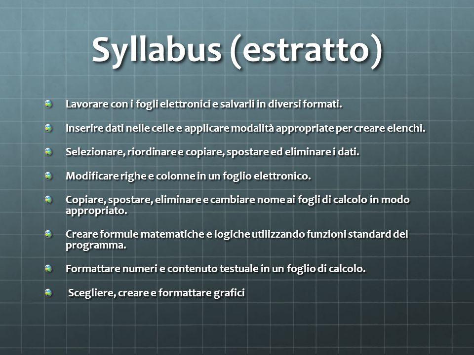 Syllabus (estratto) Lavorare con i fogli elettronici e salvarli in diversi formati.