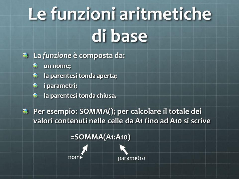Le funzioni aritmetiche di base La funzione è composta da: un nome; la parentesi tonda aperta; i parametri; la parentesi tonda chiusa.