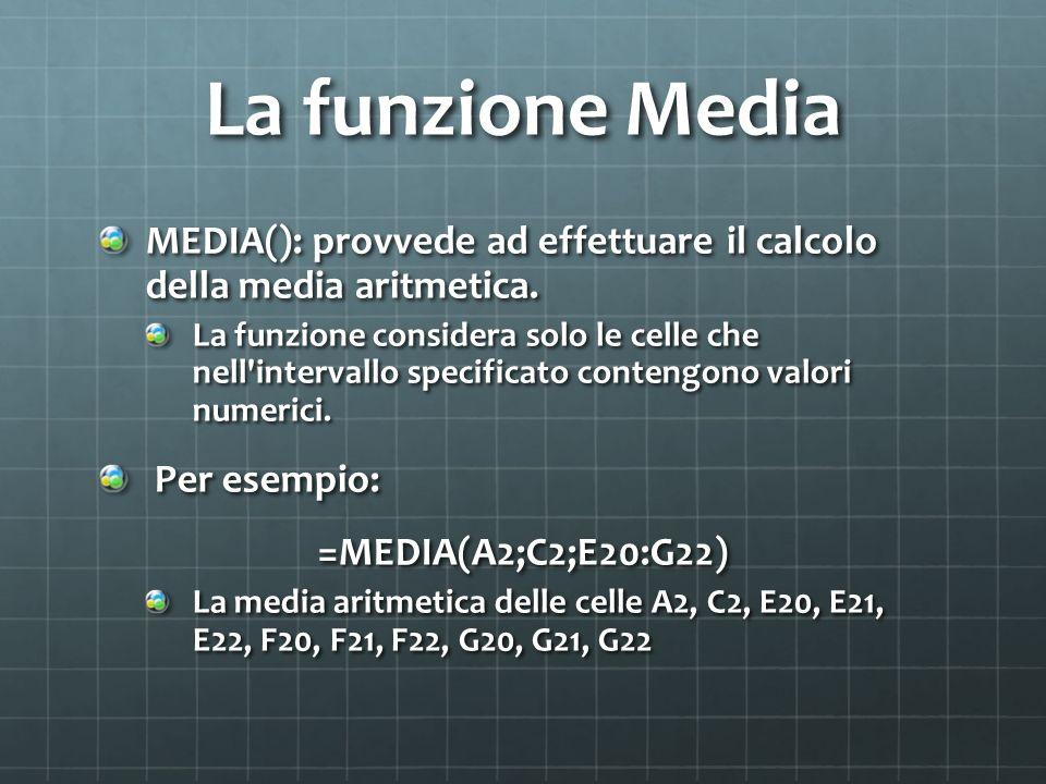 La funzione Media MEDIA(): provvede ad effettuare il calcolo della media aritmetica.
