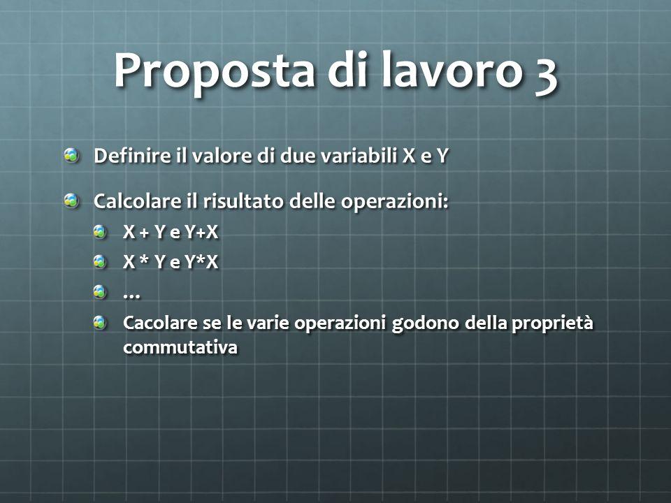 Proposta di lavoro 3 Definire il valore di due variabili X e Y Calcolare il risultato delle operazioni: X + Y e Y+X X * Y e Y*X … Cacolare se le varie operazioni godono della proprietà commutativa
