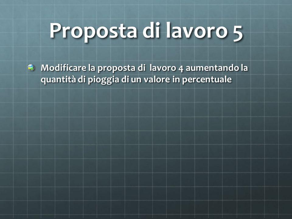 Proposta di lavoro 5 Modificare la proposta di lavoro 4 aumentando la quantità di pioggia di un valore in percentuale