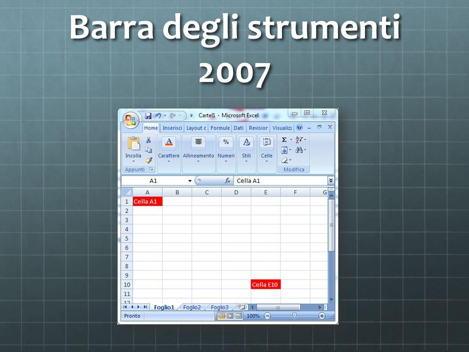 Barra degli strumenti 2007
