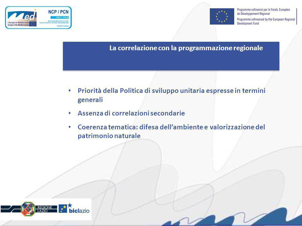 La correlazione con la programmazione regionale Priorità della Politica di sviluppo unitaria espresse in termini generali Assenza di correlazioni secondarie Coerenza tematica: difesa dellambiente e valorizzazione del patrimonio naturale