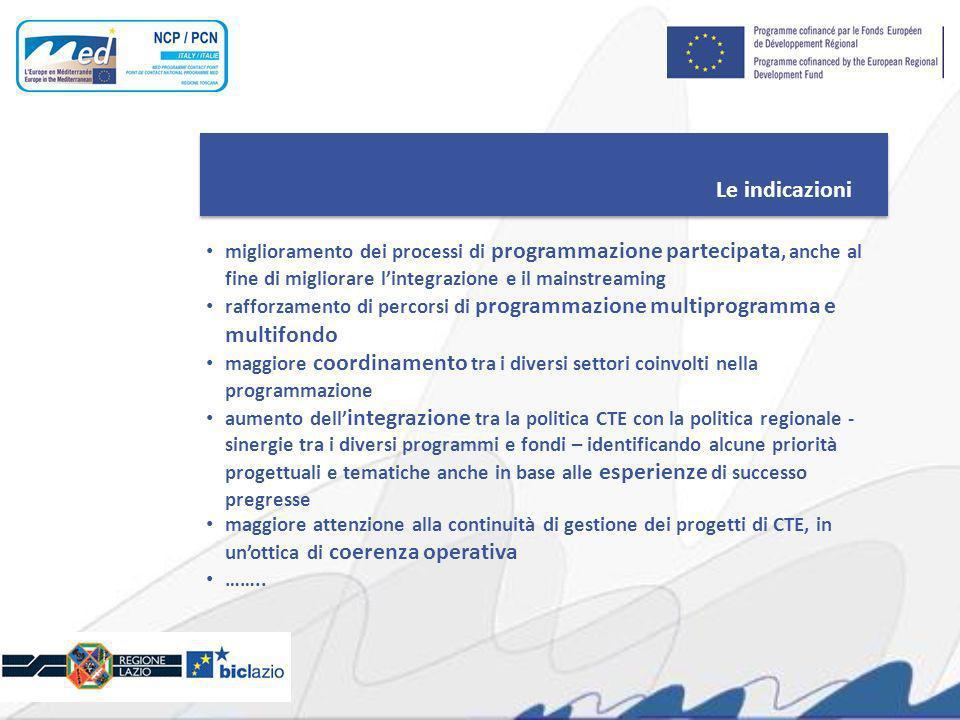 Le indicazioni miglioramento dei processi di programmazione partecipata, anche al fine di migliorare lintegrazione e il mainstreaming rafforzamento di