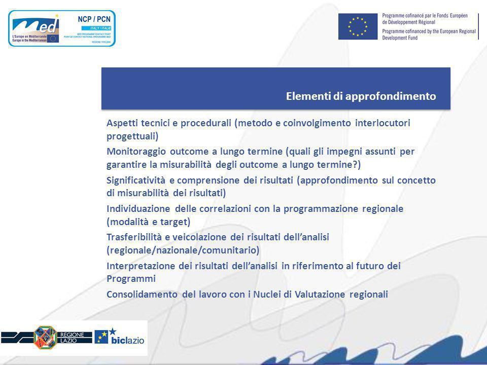 Elementi di approfondimento Aspetti tecnici e procedurali (metodo e coinvolgimento interlocutori progettuali) Monitoraggio outcome a lungo termine (qu