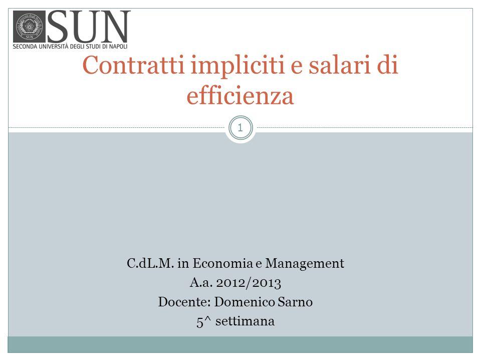 Contratti impliciti e salari di efficienza C.dL.M. in Economia e Management A.a. 2012/2013 Docente: Domenico Sarno 5^ settimana 1