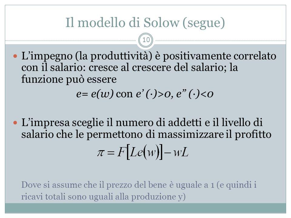 Il modello di Solow (segue) Limpegno (la produttività) è positivamente correlato con il salario: cresce al crescere del salario; la funzione può esser