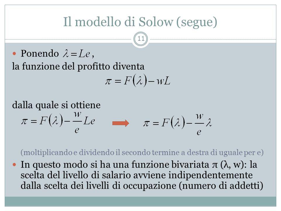 Il modello di Solow (segue) Ponendo, la funzione del profitto diventa dalla quale si ottiene (moltiplicando e dividendo il secondo termine a destra di