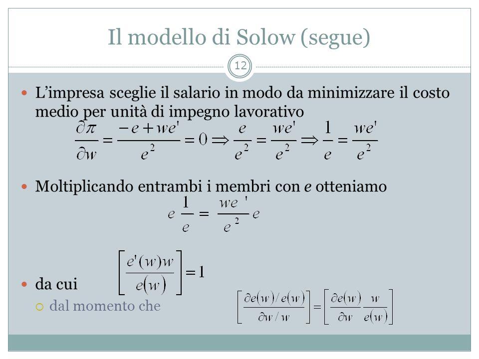 Il modello di Solow (segue) Limpresa sceglie il salario in modo da minimizzare il costo medio per unità di impegno lavorativo Moltiplicando entrambi i