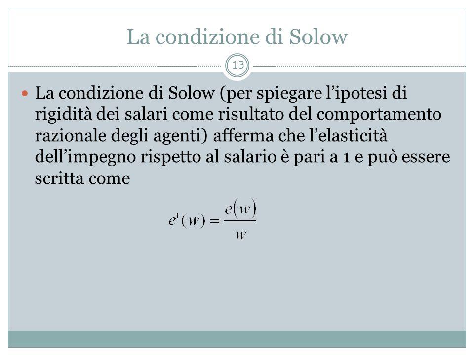 La condizione di Solow La condizione di Solow (per spiegare lipotesi di rigidità dei salari come risultato del comportamento razionale degli agenti) a