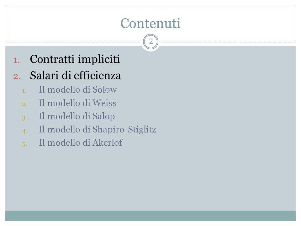 Contenuti 1. Contratti impliciti 2. Salari di efficienza 1. Il modello di Solow 2. Il modello di Weiss 3. Il modello di Salop 4. Il modello di Shapiro