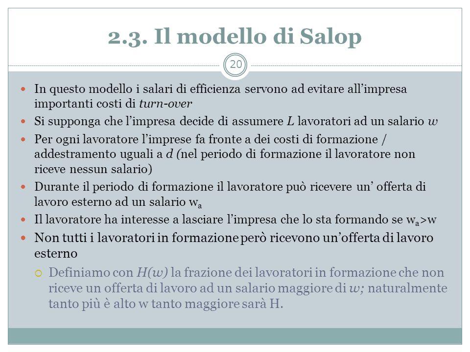 2.3. Il modello di Salop In questo modello i salari di efficienza servono ad evitare allimpresa importanti costi di turn-over Si supponga che limpresa