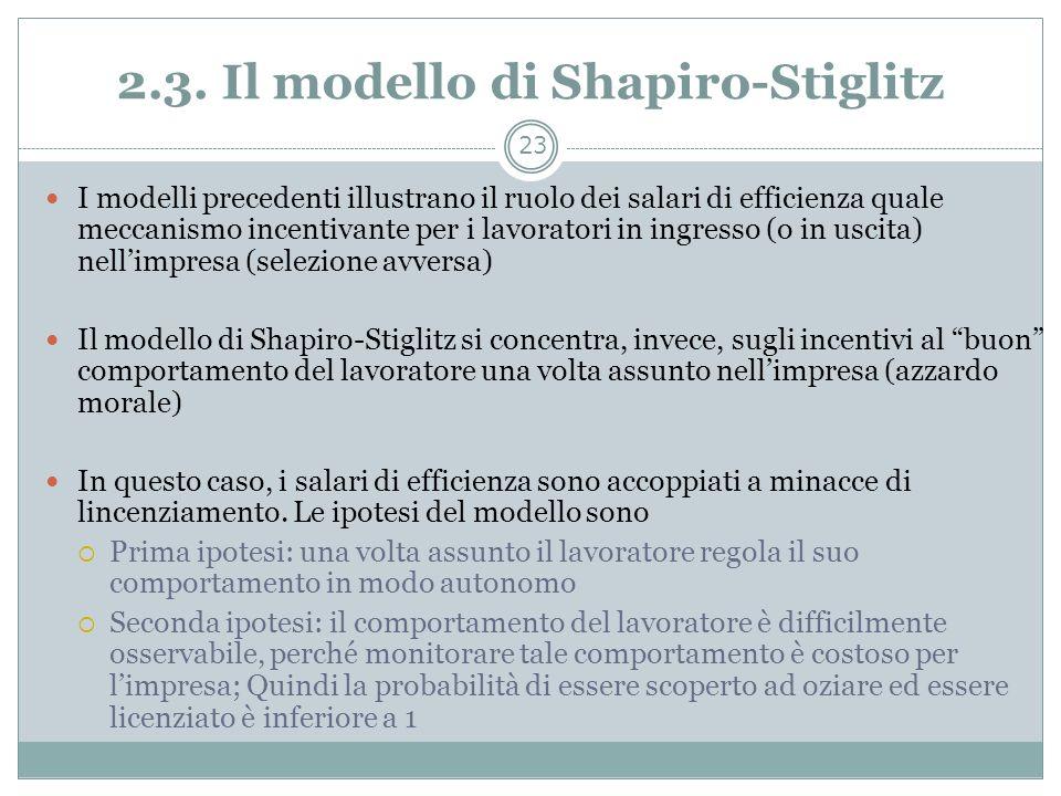 2.3. Il modello di Shapiro-Stiglitz I modelli precedenti illustrano il ruolo dei salari di efficienza quale meccanismo incentivante per i lavoratori i