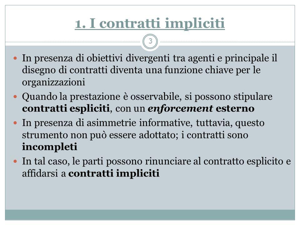 1. I contratti impliciti In presenza di obiettivi divergenti tra agenti e principale il disegno di contratti diventa una funzione chiave per le organi
