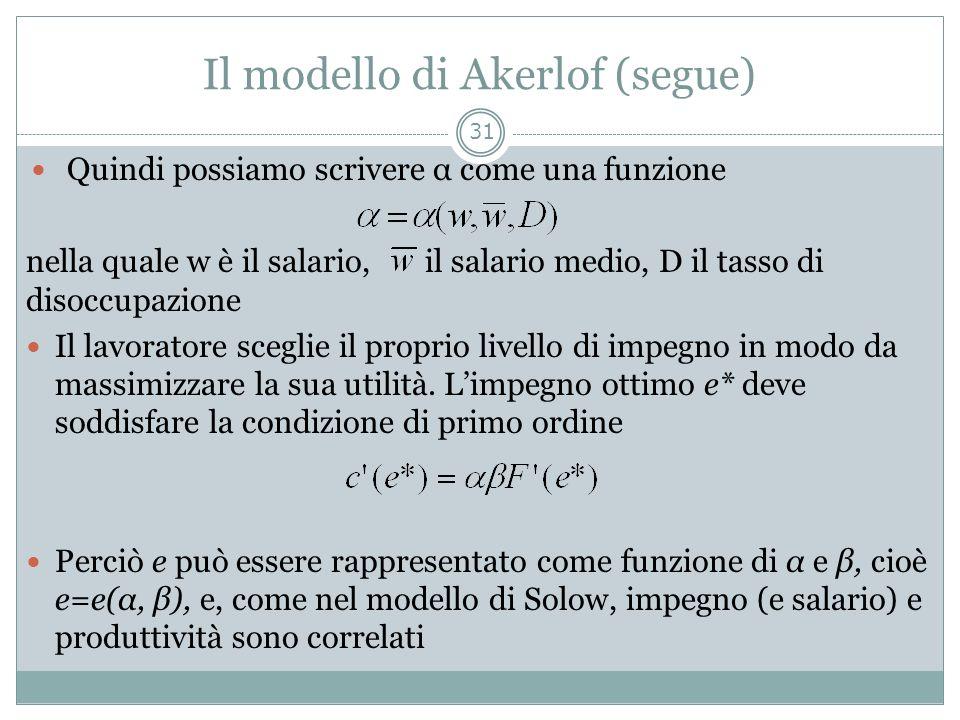 Il modello di Akerlof (segue) Quindi possiamo scrivere α come una funzione nella quale w è il salario, il salario medio, D il tasso di disoccupazione