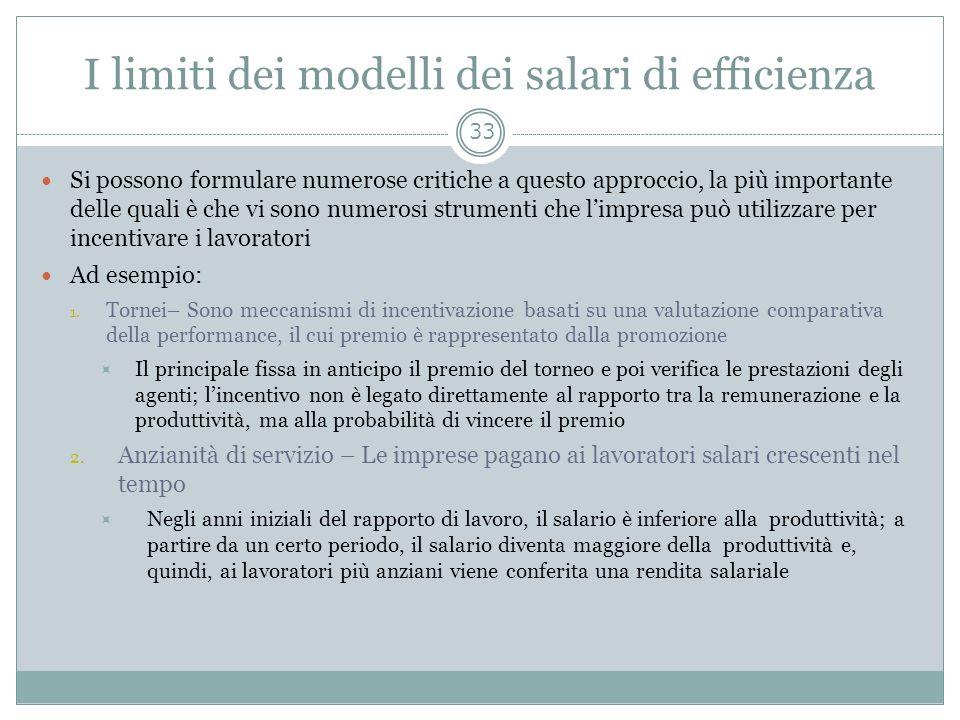 I limiti dei modelli dei salari di efficienza Si possono formulare numerose critiche a questo approccio, la più importante delle quali è che vi sono n