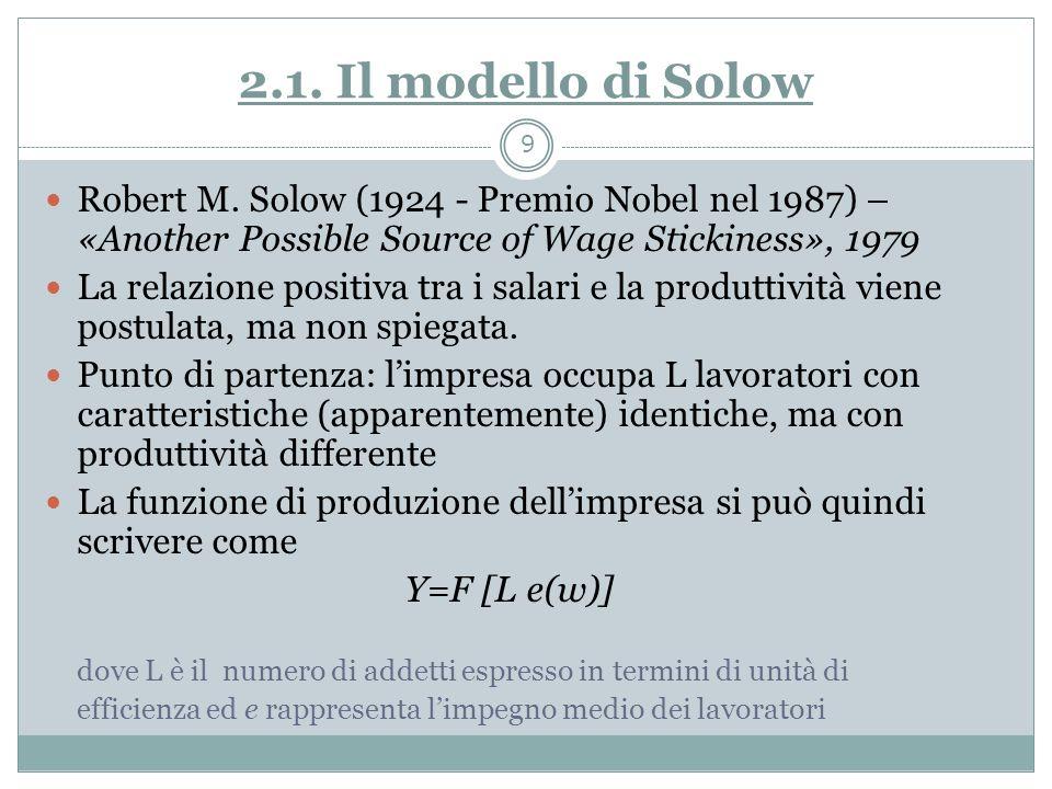 Il modello di Solow (segue) Limpegno (la produttività) è positivamente correlato con il salario: cresce al crescere del salario; la funzione può essere e= e(w) con e ()>0, e ()<0 Limpresa sceglie il numero di addetti e il livello di salario che le permettono di massimizzare il profitto Dove si assume che il prezzo del bene è uguale a 1 (e quindi i ricavi totali sono uguali alla produzione y) 10