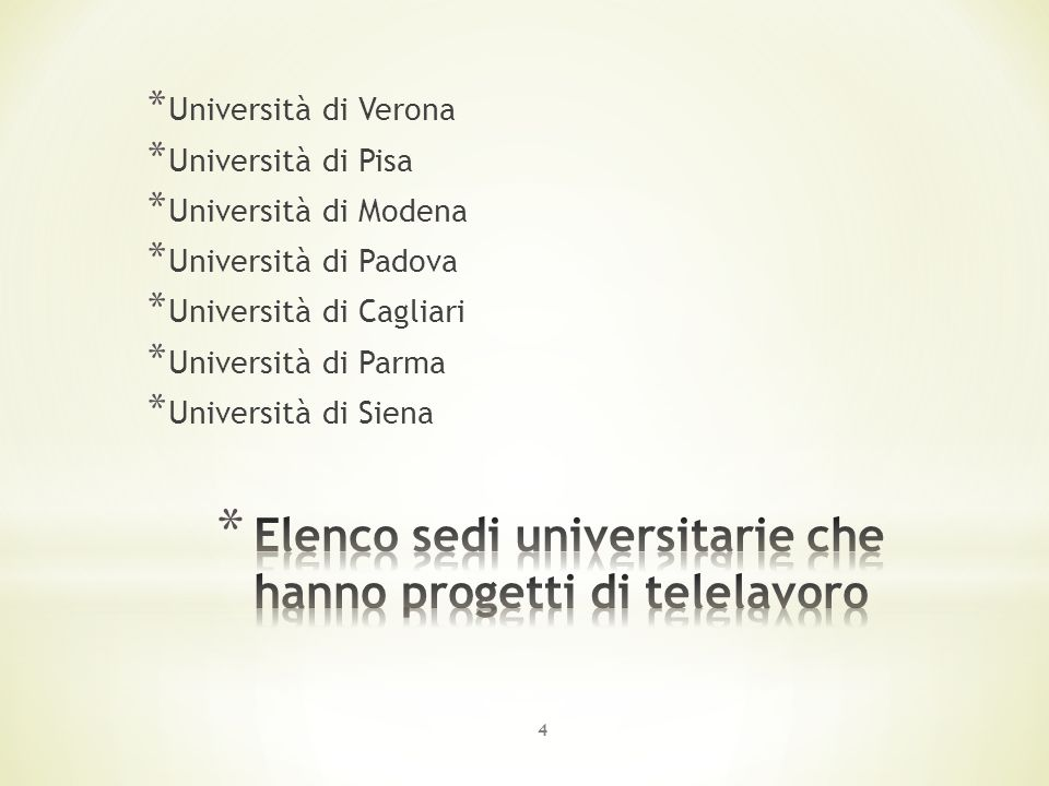 * Università di Verona * Università di Pisa * Università di Modena * Università di Padova * Università di Cagliari * Università di Parma * Università di Siena 4