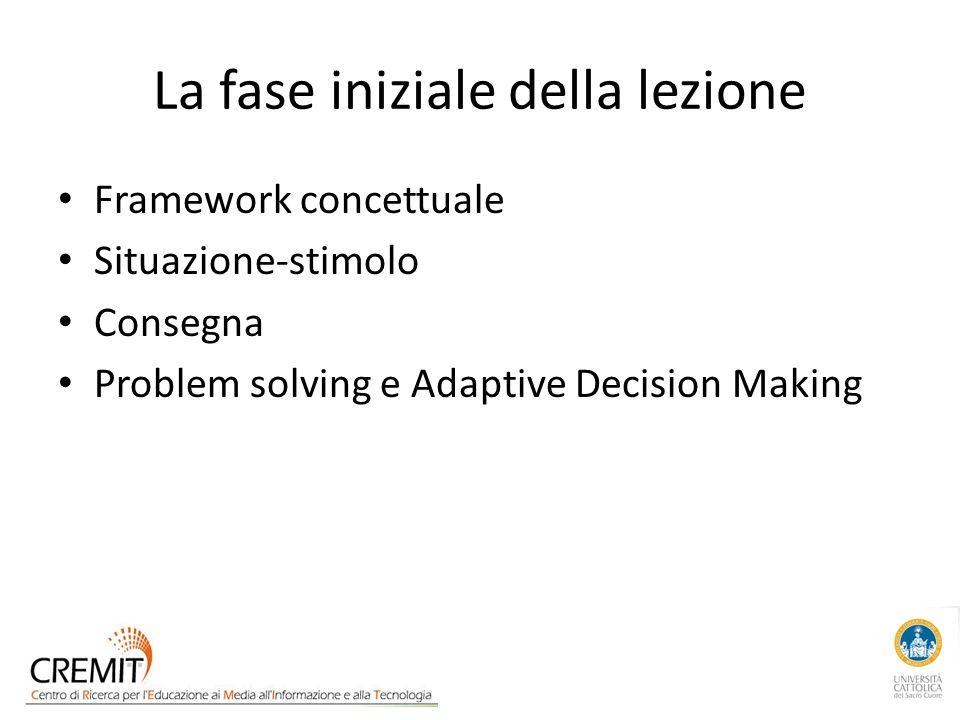 La fase iniziale della lezione Framework concettuale Situazione-stimolo Consegna Problem solving e Adaptive Decision Making