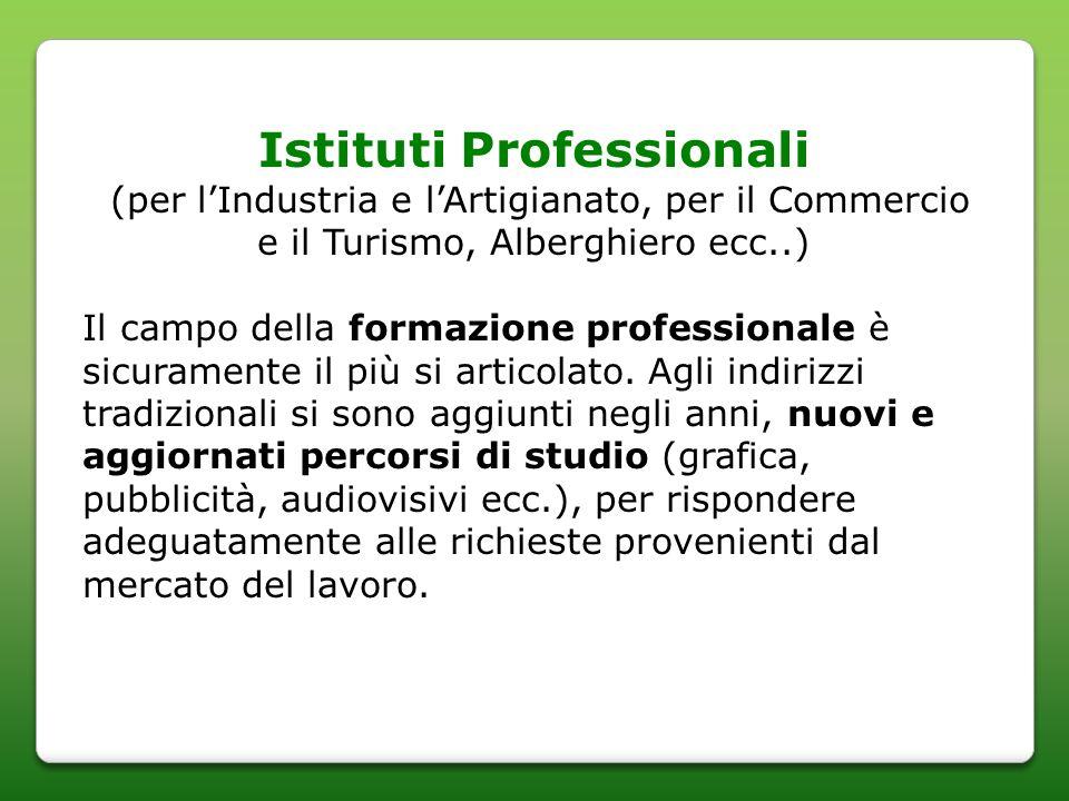 Istituti Professionali (per lIndustria e lArtigianato, per il Commercio e il Turismo, Alberghiero ecc..) Il campo della formazione professionale è sicuramente il più si articolato.