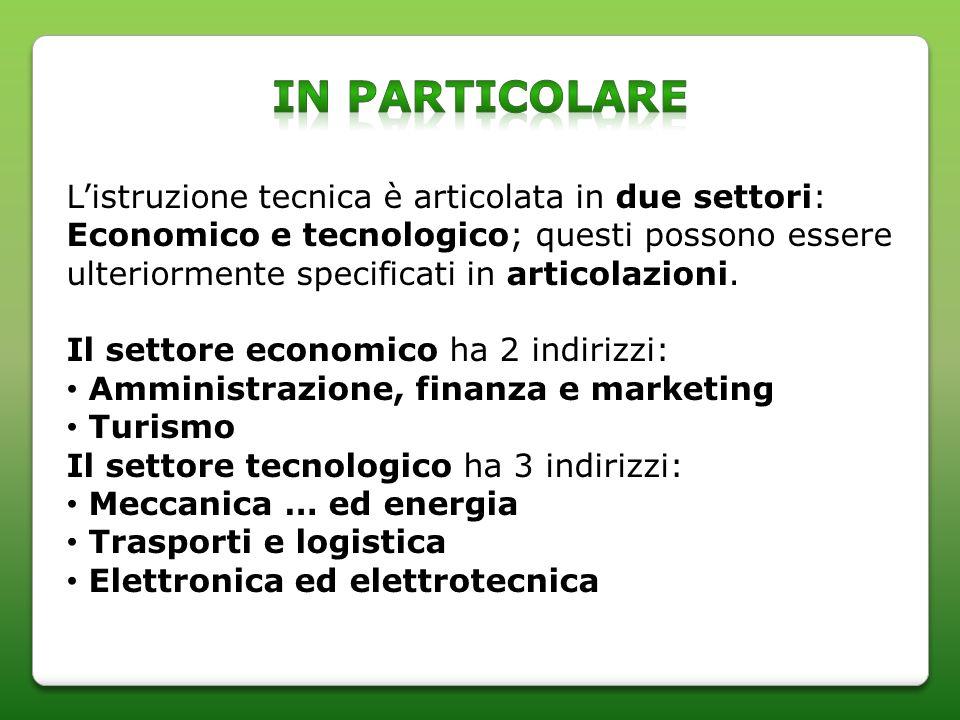 Listruzione tecnica è articolata in due settori: Economico e tecnologico; questi possono essere ulteriormente specificati in articolazioni.