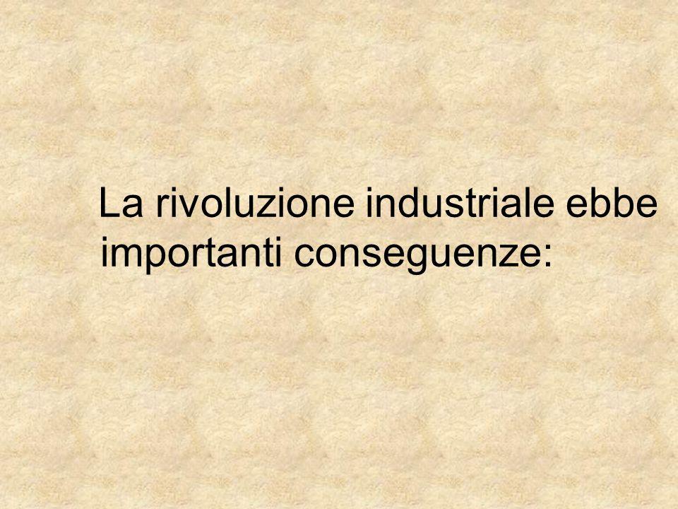 La rivoluzione industriale ebbe importanti conseguenze: