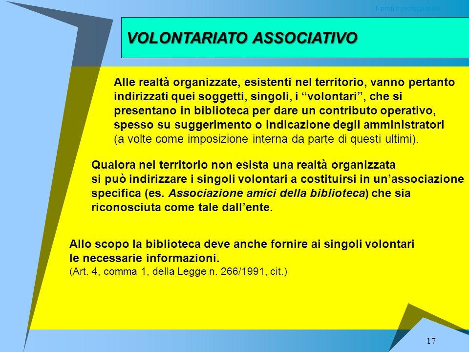 VOLONTARIATO ASSOCIATIVO Il profilo professionale Volontario è la persona che, adempiuti i doveri di ogni cittadino, mette a disposizione il proprio t