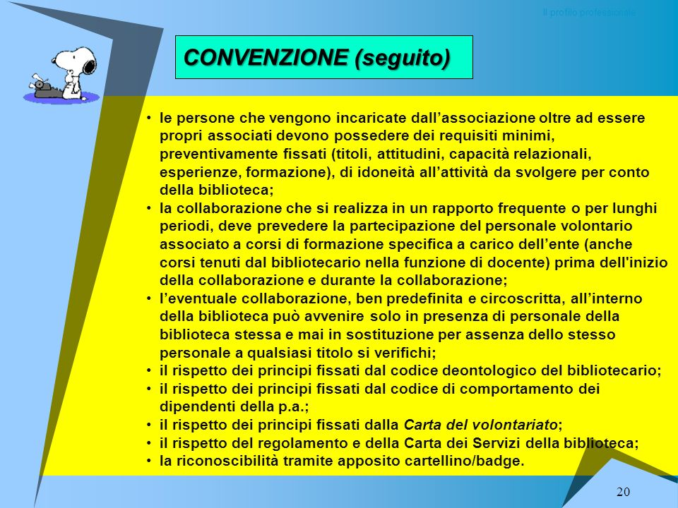 CONVENZIONE Il profilo professionale 19 Nella convenzione devono essere previste una serie di condizioni a tutela reciproca e a garanzia del servizio,