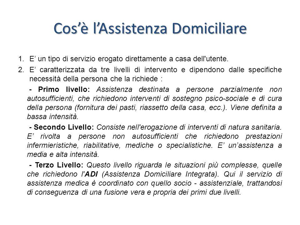 Cosè lAssistenza Domiciliare 1.E un tipo di servizio erogato direttamente a casa dell'utente. 2.E caratterizzata da tre livelli di intervento e dipend