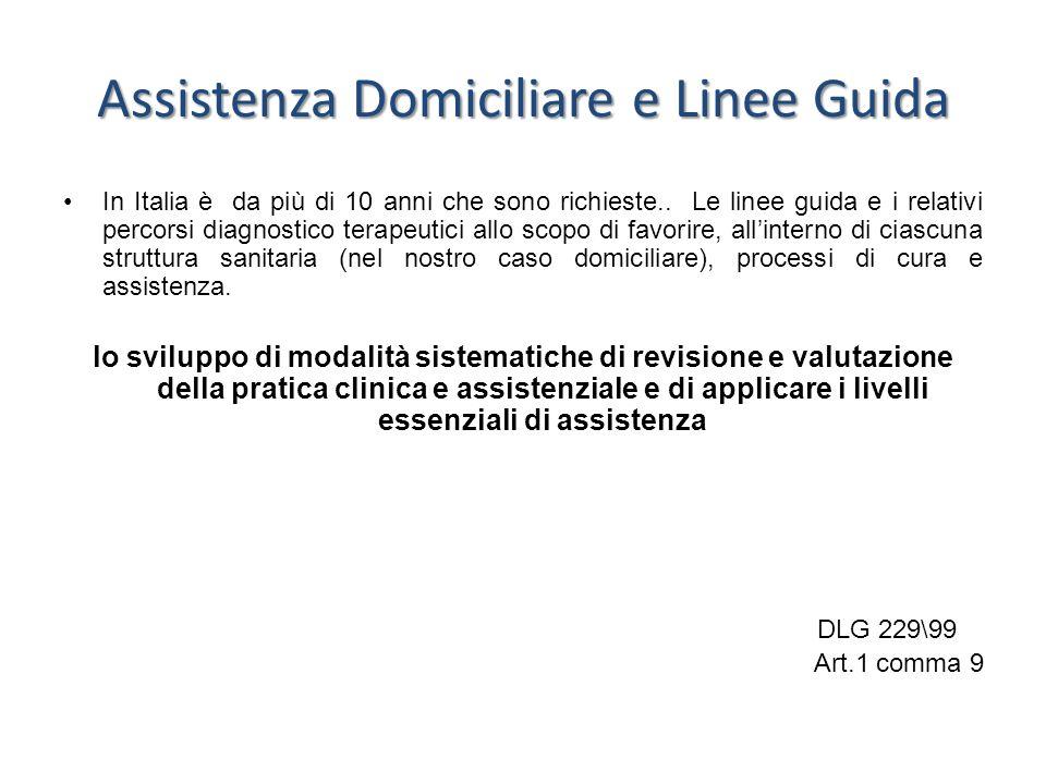 Assistenza Domiciliare e Linee Guida In Italia è da più di 10 anni che sono richieste.. Le linee guida e i relativi percorsi diagnostico terapeutici a