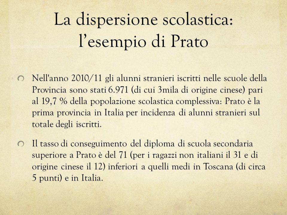 La dispersione scolastica: lesempio di Prato Nell'anno 2010/11 gli alunni stranieri iscritti nelle scuole della Provincia sono stati 6.971 (di cui 3mi